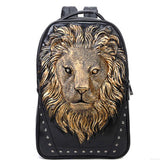 2017 New Arrival Fashion Tide Men Personality Animal Print Backpack Gothic Motorcycle 3D Lion Prints Backpack