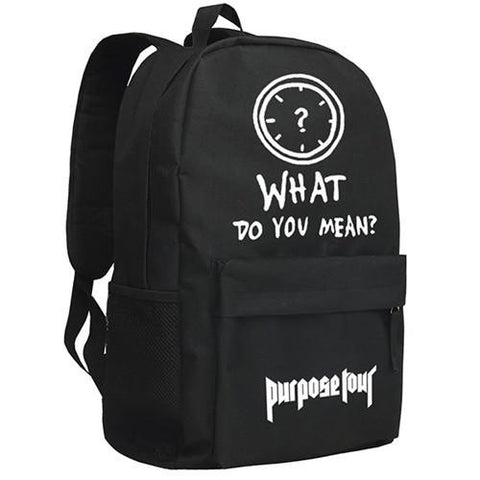 Backpack Justin Bieber Purpose School Bag for Children Students Shoulder Bag Black Mochila Men
