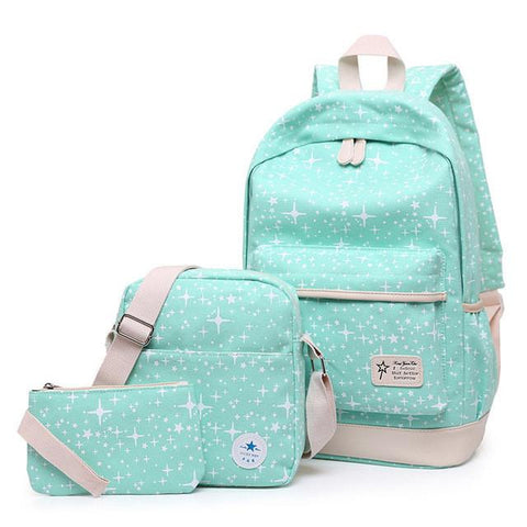 3Pcs/Sets Hot Vintage Canvas Women backpack School Bags For Teenagers Printing Backpacks For Girls Cute Laptop Rucksack Mochila