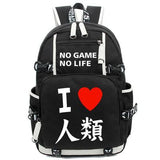 Anime Travel Bags no game no life Backpack Cosplay Fashion Rock Canvas Bag Luminous Schoolbag Unisex