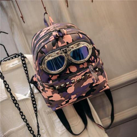 2017 New European and American style Military Camouflage Printing Backpack Punk Rivet Mochila Glasses Mini Backpack School Bags