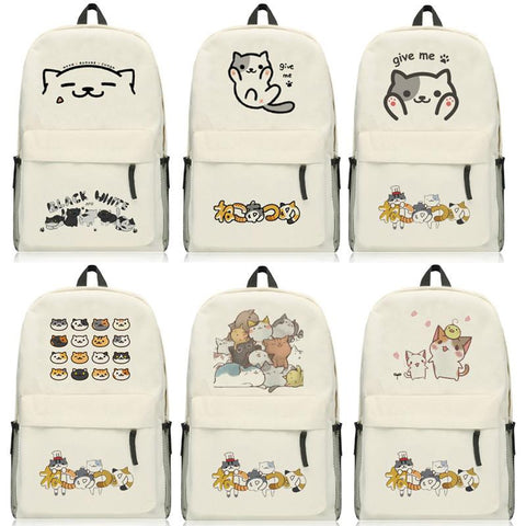 Anime Neko Atsume Backpack CartoonThe cat backyard  Bags Oxford Student School Bag Unisex