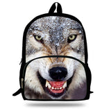 16 inch Mochilas Escolares Infantis Children School Bags Boys Wolf Backpack Kids Animal Bags For Girls Teenagers Age 7-13