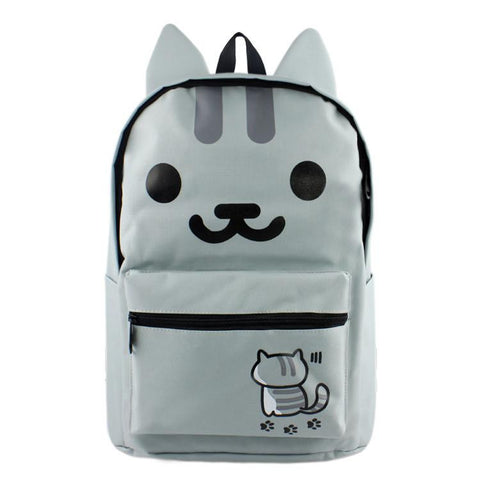 Anime Neko Atsume High Quality Canvas Solid Color Laptop Backpack Double-Shoulder School Bag