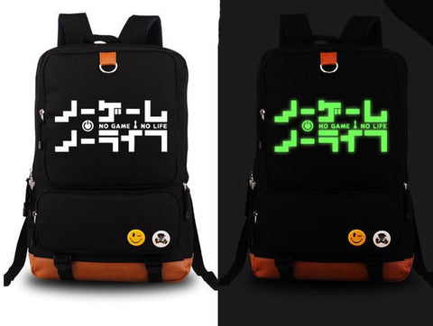anime GAME NO LIFE Backpack Fashion Canvas Student Luminous Schoolbag Unisex Travel Bags packsack