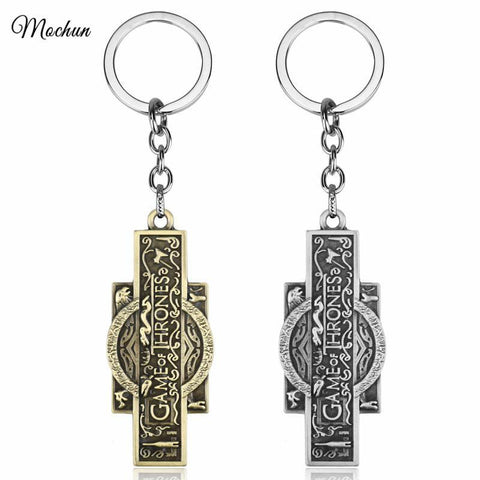 Winter Game of Thrones GOT MQCHUN 2 Colors  Key Chain Song  Ice And Fire Key Rings For Gift Chaveiro Car Keychain Jewelry Movie Key Holder AT_77_7