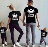 Cool Summer Family Matching Clothes Short Sleeve T -Shirts King Queen Couples T shirt Crown Printed Funny TopsAT_93_12