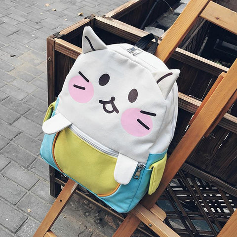 2017 Neko Atsume Kawaii Cat Canvas Backpack Cute Cat School Bags for Girls Mochila Feminina Women Cartoon Bags School Backpack