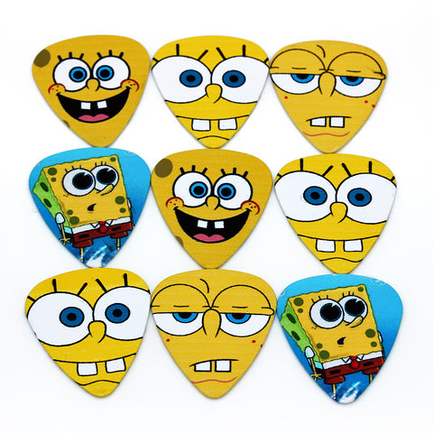 Sponge Bob Facial Expressions  Print both sides Funny 10 piece select guitar electric acoustic musical instrument bass string - Animetee