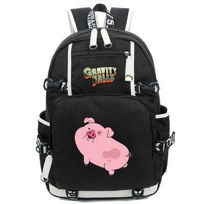 Japanese Anime Bag Hot-selling printing Cartoon naughty piglet men backpack  Gravity Falls Backpack Canvas Bag women Schoolbag Travel Bags AT_59_4