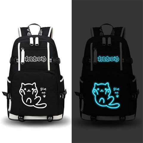 "2017 New Neko Atsume Luminous Backpack Men Shoulder Laptop School Bags Satchel Mochila 17"" College Students Bag Bookbag"
