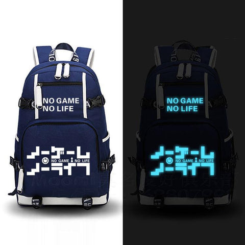 Japanese Anime Bag no game no life Backpack Cosplay  Canvas Bag Luminous Schoolbag Travel Bags AT_59_4