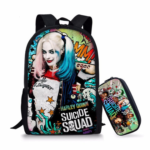 17 Inch Suicide Squad Backpack For Teenager Children Harley Quinn Joker School Bags Boys Girls School Backpacks with Pencil Bag