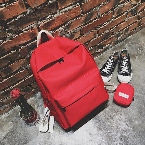 d89ec65a9a57 2017 Autumn Winter New Fashion Women Female Casual Simple Man Male Canvas  Solid Color Students School Backpacks Shoulder Bags