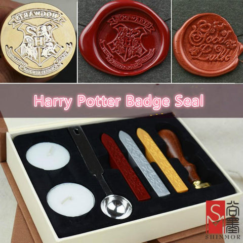 1 set Retro Harry Potter College Badge Sealing Wax Stamp Gift Box For Envelopment Invitation Letter Seal Wedding Post Decor