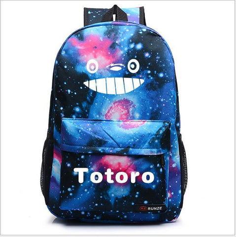 1 piece night light totoro teeth + Galaxy Star starry Universe Space Printing Backpack Fashion oxford schoolbag travel bag