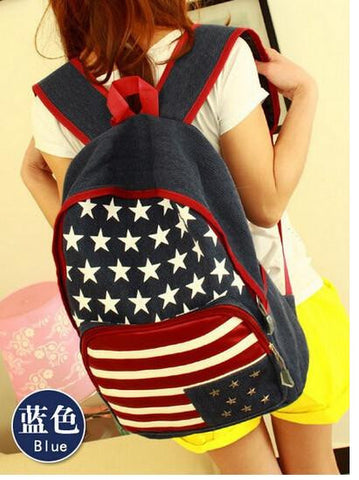 1 piece US USA flag 3D star rivet strip canvas packbag flag student schoolbag travel bag backpack