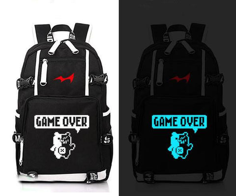 Japanese Anime Bag  Danganronpa game over Cosplay Backpack  monokuma Canvas Bag Luminous Schoolbag Travel Bags AT_59_4