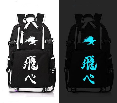 Japanese Anime Bag  Haikyuu Cosplay Backpack  Hinata Syouyou Canvas Bag Luminous Schoolbag Travel Bags AT_59_4