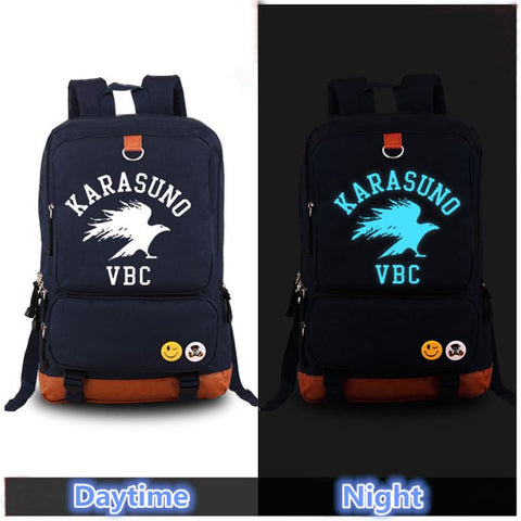 Japanese Anime Bag 2017  Haikyuu Karasuno Luminous Backpack Cosplay Cartoon Unisex School Bags Laptop Travel Bags AT_59_4