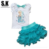Child Children Clothing Frozen Elsa set Dress tutu bowtie top fashion trendy daughter gift - Animetee - 1