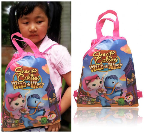 1PCS Sherrif Callies Wild West Hot Cartoon Drawstring Backpacks School Shopping Bags 34*27CM Non Woven Fabrics Kids Party Gift
