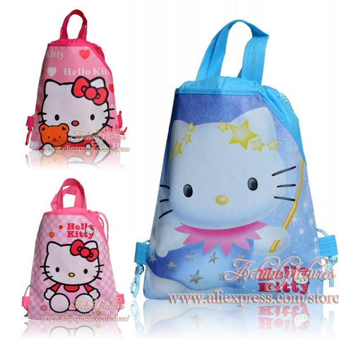 20Pcs Hello Kitty Cartoon Drawstring Backpacks Kids School Shopping Party Bags,29*22cm,Birthday Gift, Novelty Party Favors
