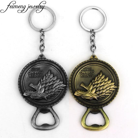 Winter Game of Thrones GOT  Bottle Opener Keychain Bar Beer Wine Tool House Stark Winter Is Coming Metal KeyringCar Key Chain For Fans AT_77_7