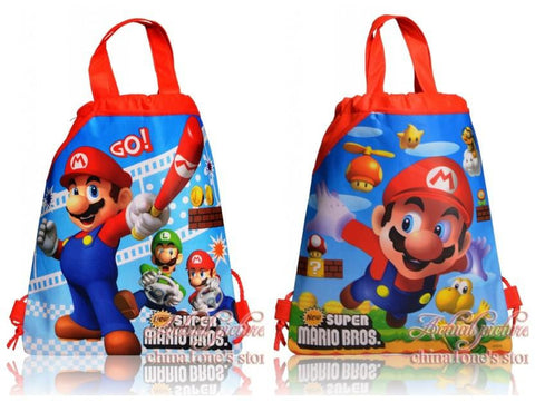 3Pcs Super Mario Cartoon Drawstring Backpack Kids Bags,Kids School Shopping Bags,34*27cm,Party Gift,Non-Woven