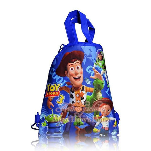 12PCS Cartoon Toy Story school bags kids cartoon drawstring backpack& bag Kids School Shopping Bags,34*27cm,Birthday Party Gift