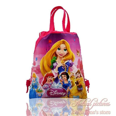 1pcs Princess Cartoon Drawstring Backpack Bags,Non-Woven Fabric Multipurpose Bags 34*27cm Kids School Party Bags