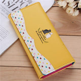 2016 New Women Cartoon Cat Long Wallet Girls Candy Color Purse Card Holder Coin Bags