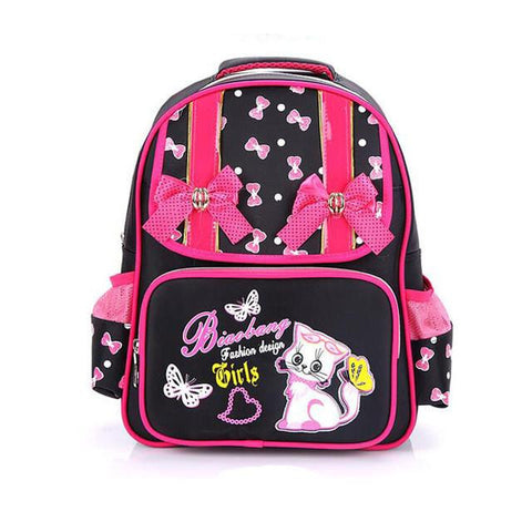 2016 NEW Grade1-4 Orthopedic Breathable cute cat Primary School Bags Kids pink bow Backpack Teenagers Girls Mochila Schoolbags