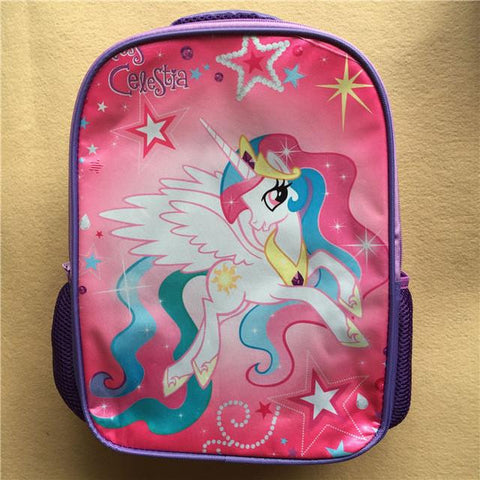 13 and 15 and 17inch animal pony backpack double layer children MLP School bags pencil case anime little horse women