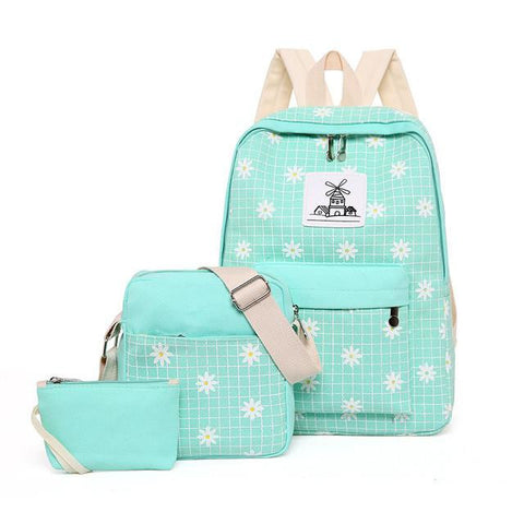 ... QZH 3pcs set women backpack canvas printing school bags for teenagers  girls preppy style backpacks ... 3de37249c2918