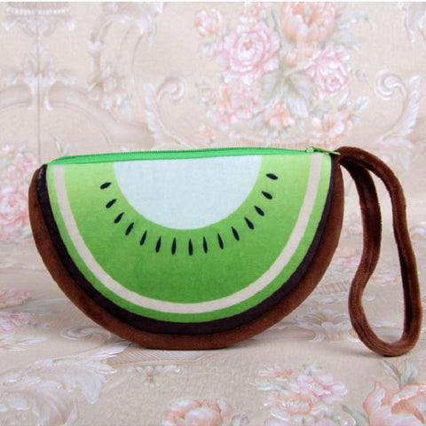 (12pcs/lot)Plush fruit printing women coin purse cute wallet change bag mini handbag female small phone pouch for children girls