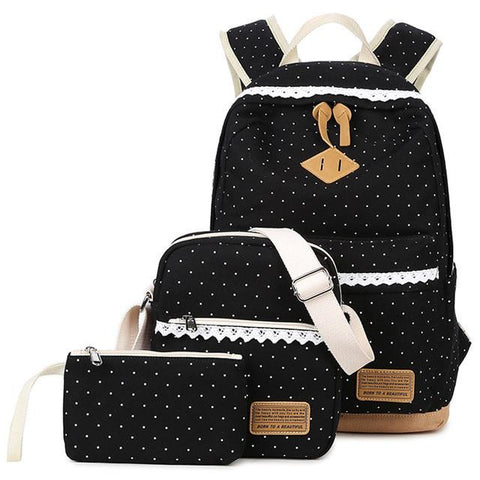 3Pcs/Set Canvas Dot Printing Satchel Rucksack Backpacks School Bags for Teenage Girls Escolar Backpack School  Mochila for Women