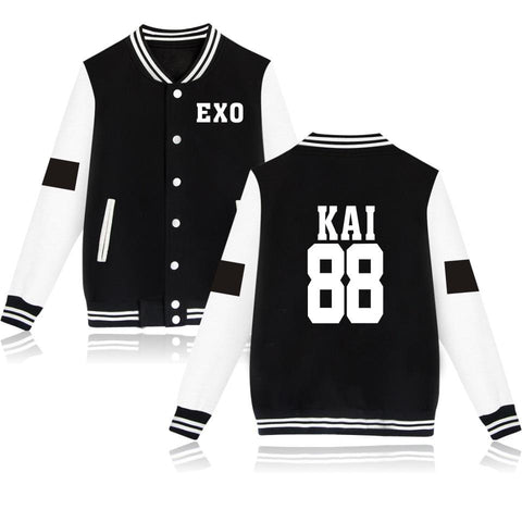 Trendy Hot Sale EXO Autumn Long Sleeve College Baseball Jackets KAI 88 Fashion Casual Baseball Jacket Women KPOP Korean 4XL Clothing AT_94_13
