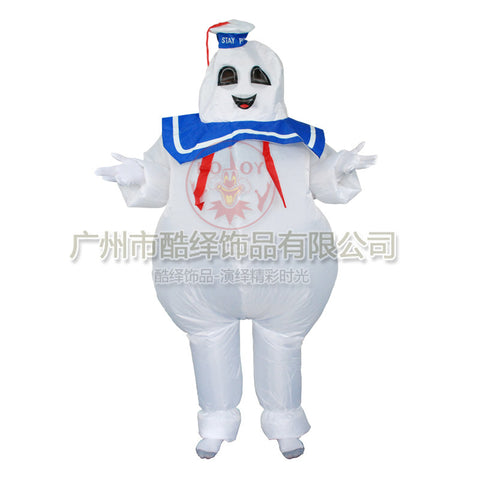 Marshmallow man Stay Puft Funny Halloween Ghostbusters Costume Movie 80's - Animetee