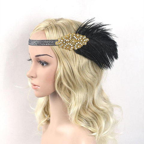 1920s Great Gatsby Headpiece Black Gold Beading Feather Vintage Headband Flapper Costume Party Gift