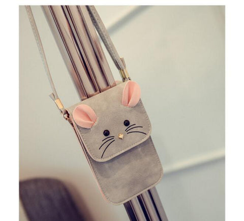 1 piece women casual purse small 3D mouse phone package mini shoulder messenger cartoon bag pu leather bolsa handbag