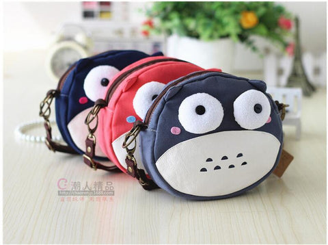 1 piece Crossbody Women Girls Canvas Mini Shoulder Bag Female Totoro ball style Purse Handbag