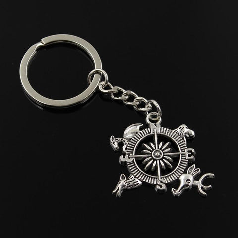 Winter Game of Thrones GOT new fashion men 30mm keychain DIY metal holder chain vintage    Topic Guide compass 28*34mm silver pendant Gift AT_77_7