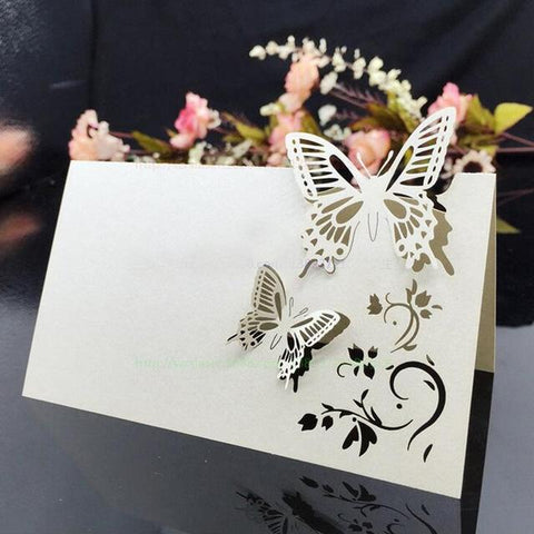100pcs/lot Laser Cut Butterfly Place Cards Wine Glass Table Mark Glass Name  Card Wedding
