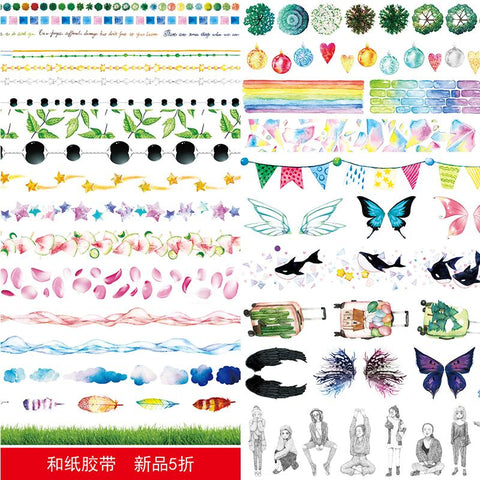 10 pcs/lot DIY Japanese Paper Decorative Adhesive Cartoon Water lines wing feathers stars Washi Tape/Masking Tape Stickers mt92
