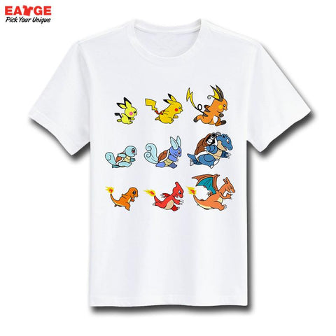 [EATGE] Fashion New Design T Shirt Pokemon Pikachu Funny Cool T-shirt Short Sleeve Anime White Printed Tshirt Men Unisex - Animetee - 16
