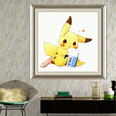 DIY Diamond Embroidery Painting Children's Toy Game Pika Pikachu Pokemon Hand Made Cross Stitch for Kids Room Decoration Gift - Animetee
