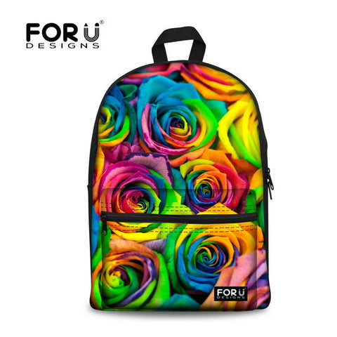 Flower Print School Bags For Girls Designer Teenage Floral Schoolbag Casual Children Bookbag Women Backbag - Animetee - 13