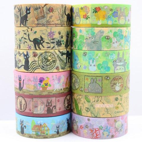 12 ROLLS 15mmx3m Japan Cartoon  Paper Tape colored Tape/Beautiful and lovely TOTORO Adhesive Decorative Masking Tape