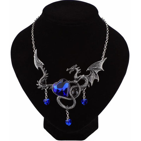 Winter Game of Thrones GOT    dragon Punk Dragon Pendants & Necklaces Blue Crystal dragon amulet Sweater Chain Gift ancient AT_77_7